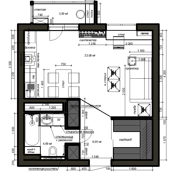 Умный Дом в квартире-студии на EasyHomePLC. Часть 1. ТЗ и подготовка чертежа.