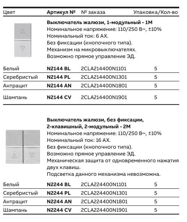 Выключатели для штор ABB Zenit